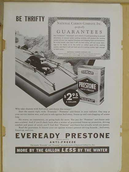 Eveready Prestone Anti freeze. National Carbon Company (1938)