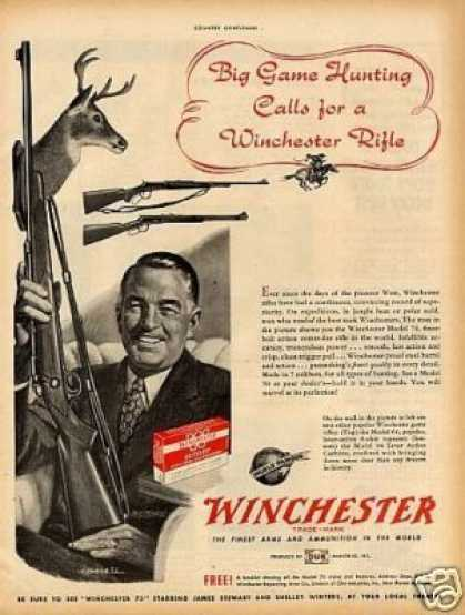 Winchester Rifle Ad Model 64,70, 94 (1952)