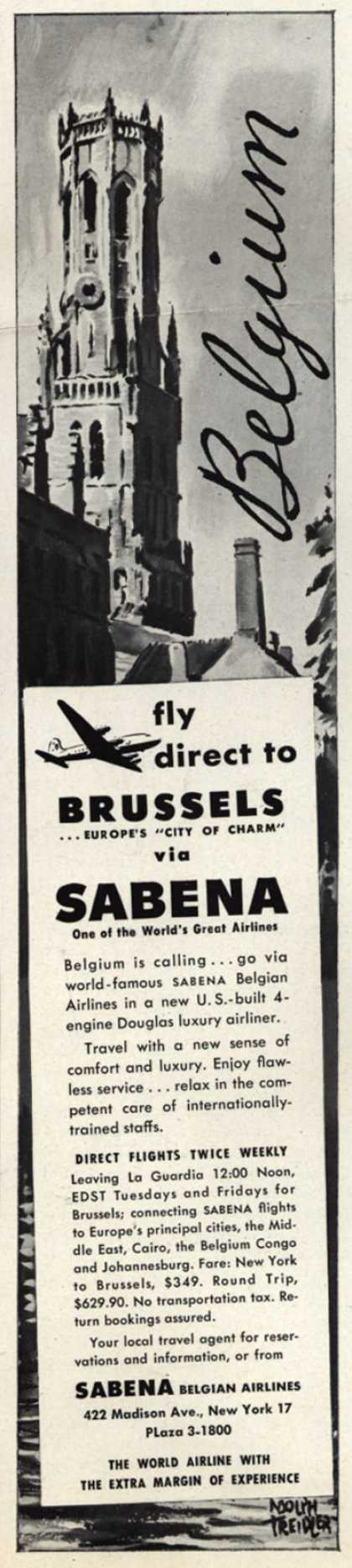 Sabena Belgian Airline's Belgium – fly direct to Brussels via Sabena (1947)