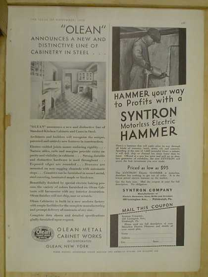 Olean Metal Cabinets AND Syntron Company motorless electric hammer (1930)
