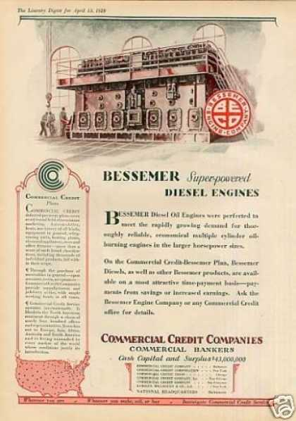 Commercial Credit Ad Bessemer Diesel Engine (1929)