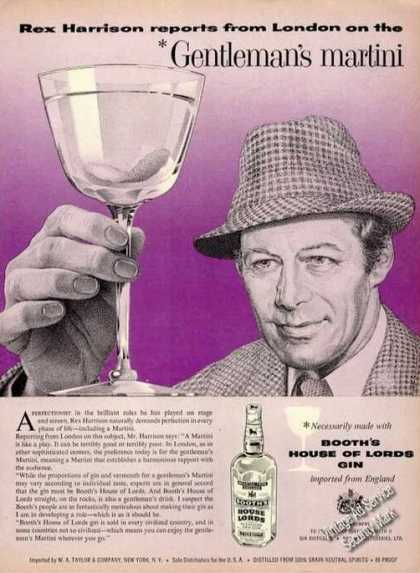 Rex Harrison Drawing Rare Booth's Gin (1958)