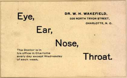 Dr. W. H. Wakefield's Eye, ear, nose, throat medical services – Eye, Ear, Nose, Throat.