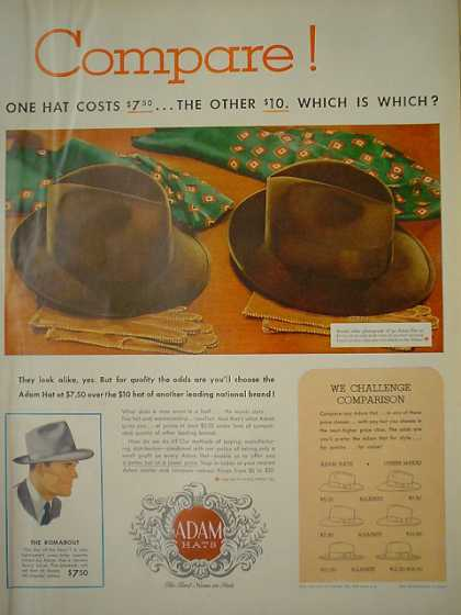 Adam Hats We challenge Comparison (1950)