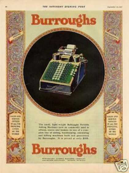 Burroughs Portable Adding Machine Color (1927)