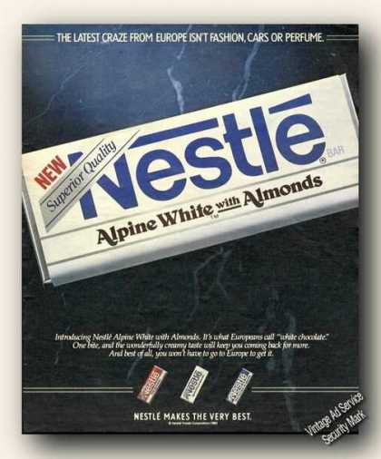 Nestle Alpine White With Almonds Candy (1985)