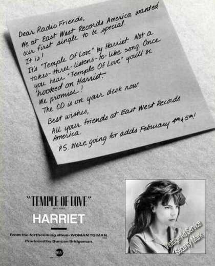 Harriet Photo Temple of Love Music Trade (1991)