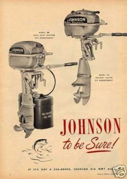 Johnson Outboard Motors 2 Page Ad Models Qd, Tn (1950)