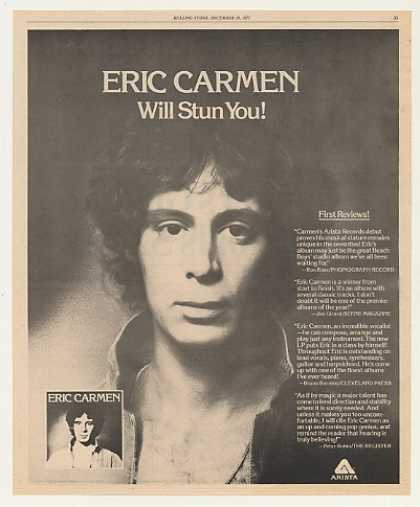 Eric Carmen Arista Records Debut Photo (1975)