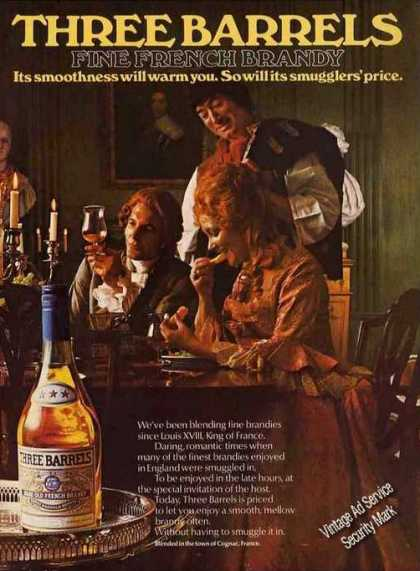 "Three Barrels French Brandy ""Smugglers' Price"" (1974)"