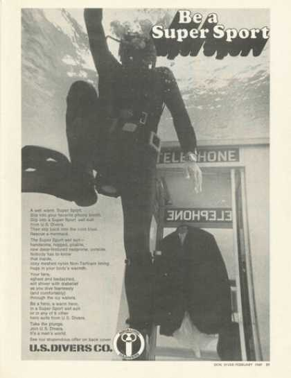 Us Divers Aqualung Super Sport Scuba Wet Suit (1969)