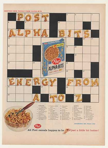 Post Alpha-Bits Cereal Crossword Puzzle (1959)