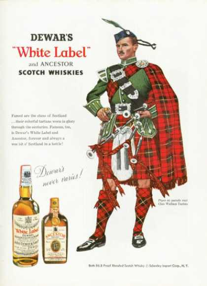 Dewar's White Label Scotch Ad Wallace Clan Tartan (1958)