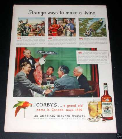 """Corby's Blended Whiskey"" Ad, Ex (1949)"