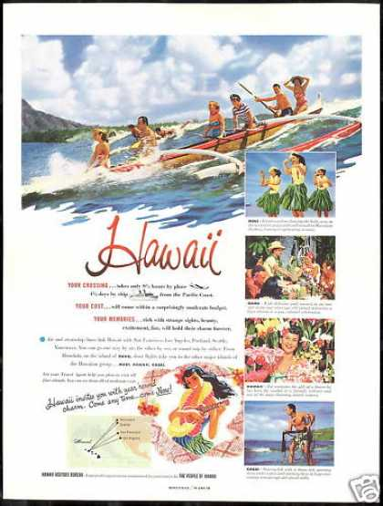 Hawaii Travel 5 Photo Outrigger Maui Oahu Kauai (1952)