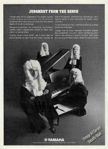 "Yamaha Pianos ""Judgement From the Bench"" (1972)"