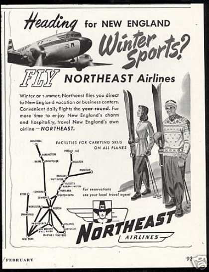 Northeast Airlines System Map Snow Ski (1948)