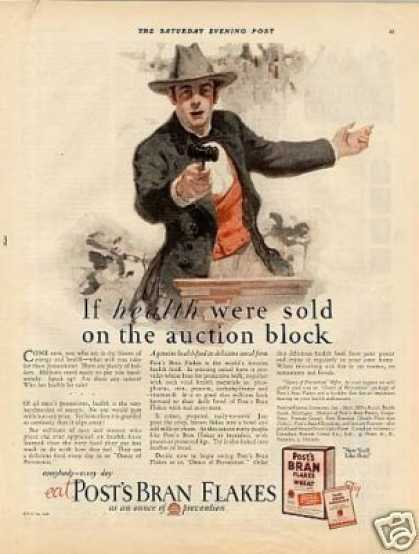 """Post's Bran Flakes Cereal Ad """"If Health Were Sold (1926)"""