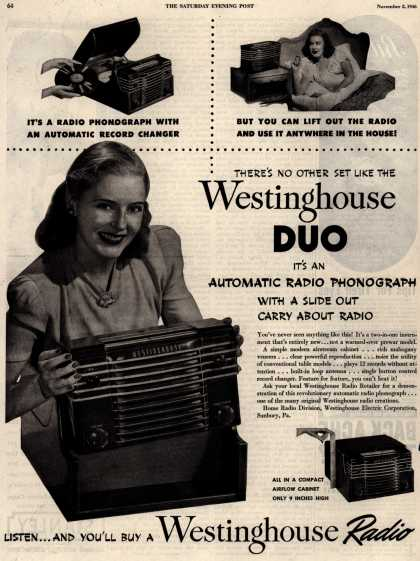 Westinghouse Electric Corporation's Radio Phonograph – THERE'S NO OTHER SET LIKE THE Westinghouse DUO (1946)