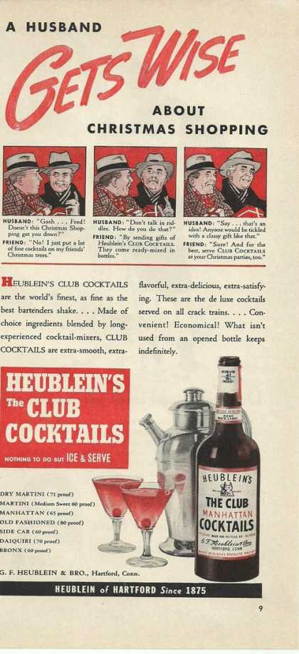 Heubleins the Club Manhattan Cocktails (1939)