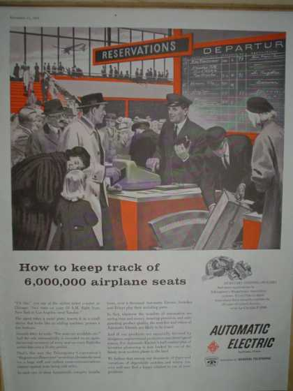 Automatic Electric How to keep track of 6,000,000 airplane seats (1958)