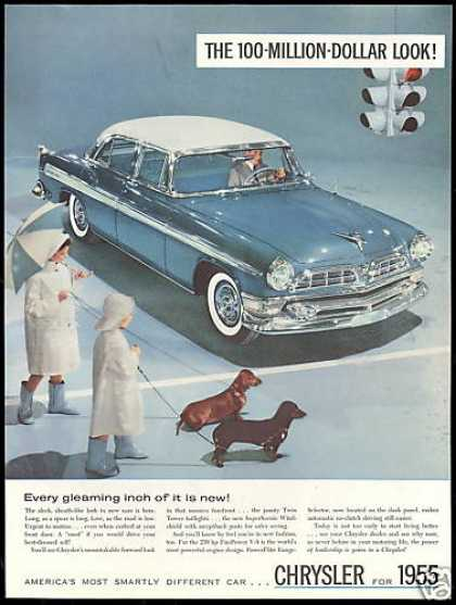 Chrysler 4 dr Car Photo Dachshund Dogs (1955)