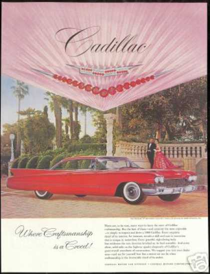 Red Cadillac 2 Door Photo Print Car Vintage (1960)