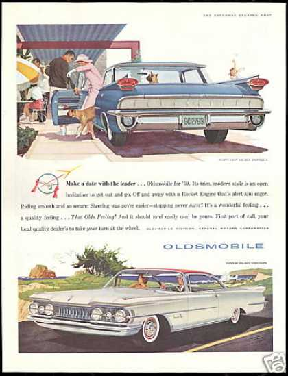 Boxer Dog Oldsmobile 98 Holiday Super 88 Car (1959)