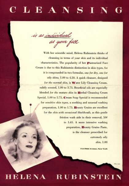 Helena Rubinstein's Skin Cleansing products – Cleansing (1944)