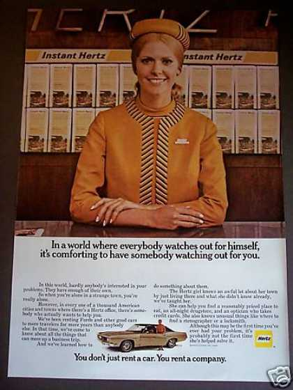Hertz Girl In Gold Uniform Rent a Car (1969)