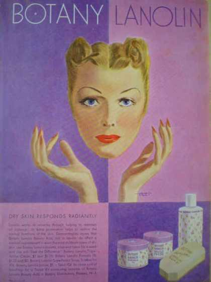Botany Lanolin Makeup AND Chesterfield Cigarettes War theme (1943)
