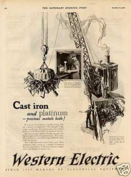 "Western Electric Ad ""Cast Iron And... (1925)"