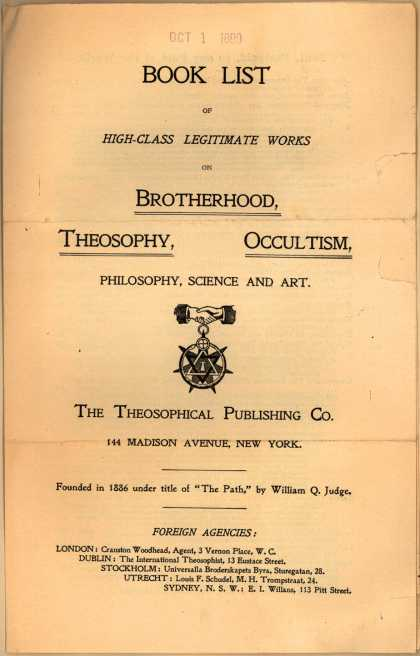 Theosophical Pub. Co.'s Theosophical Books – Book List of High-Class Legitimate Works ... (1899)