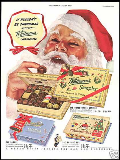 Christmas Santa Whitman's Chocolate 3 Box Photo (1950)