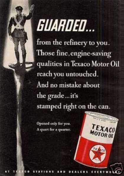 "Texaco Motor Oil Ad ""Guarded... (1935)"