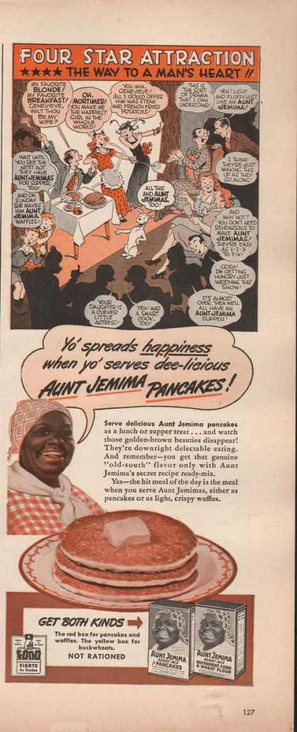 Aunt Jemima Pancakes Cartoon Printad (1942)