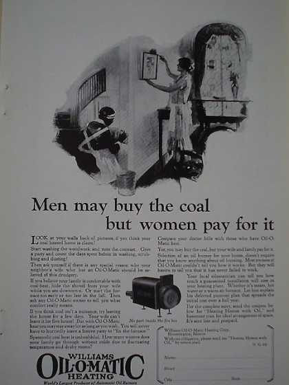 Williams Oil O Matic Heating Men buy coal women clean (1926)