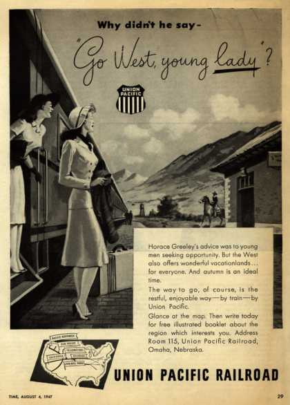 "Union Pacific Railroad's Western Vacation Travel – Why didn't he say – ""Go West, young lady?"" (1947)"