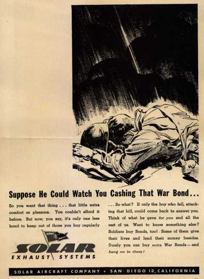 Solar Aircraft Co.'s War Bonds – Suppose He Could Watch You Cashing That War Bond... (1943)