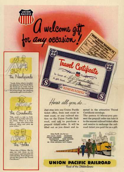 Union Pacific Railroad's Travel Certificates – A welcome gift for any occasion (1949)
