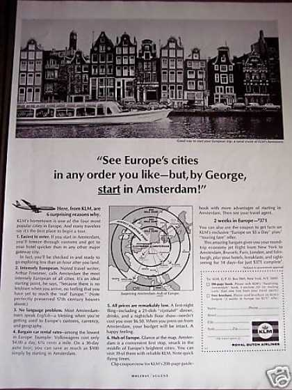 Amsterdam Canal Cruise Photo Klm Airline (1966)