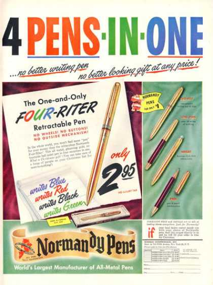Normandy Pens 5 Models Pace Knight Long John (1948)