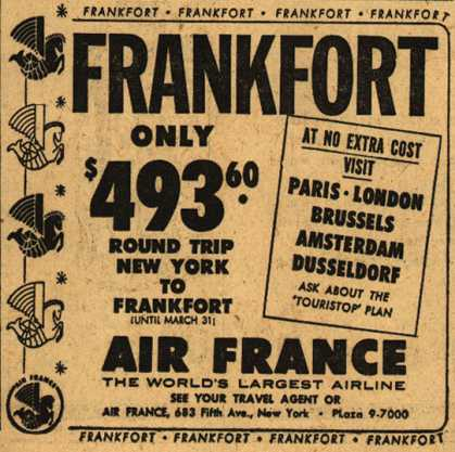 Air France's Frankfort – Frankfort only $493.60 (1954)
