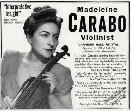 Madeleine Carabo Photo Violinist Rare Booking (1949)