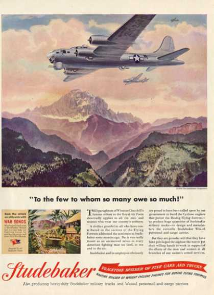 Studebaker Boeing Flying Fortress Wwii Plane Ad T (1945)