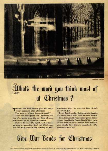 U. S. Treas. Dept., War Advertising Council's War Bonds – What's the word you think most of at Christmas? (1943)