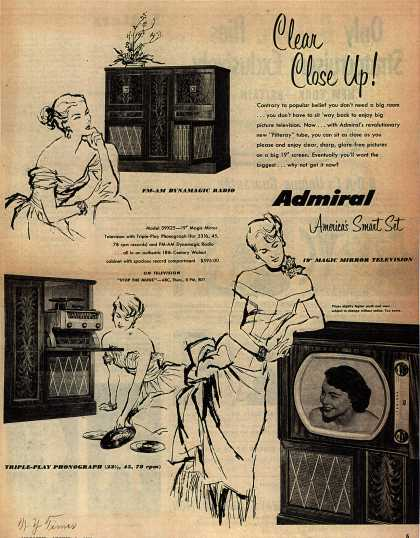 "Admiral Corporation's 19"" ""Magic Mirror"" Television Combination – Clear Close Up (1950)"