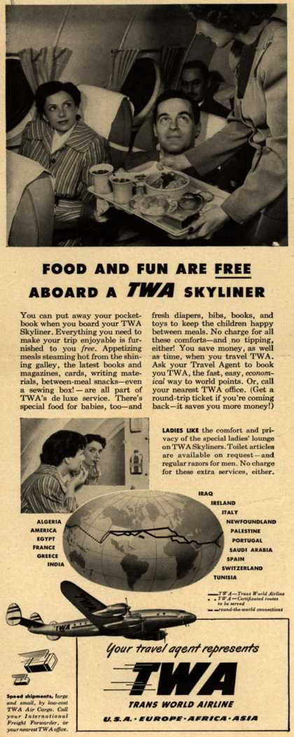 Trans World Airline's Skyliner – Food And Fun Are Free Aboard A TWA Skyliner (1948)