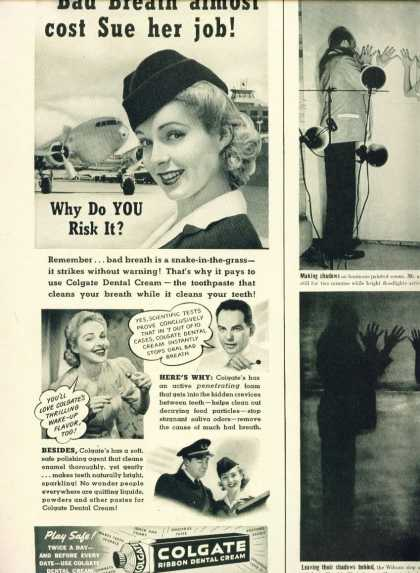 Colgate Ribbon Dental Cream C Ad Pretty Stewardess (1950)