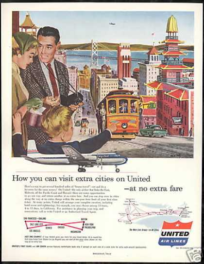 United Airlines San Francisco California Art (1954)